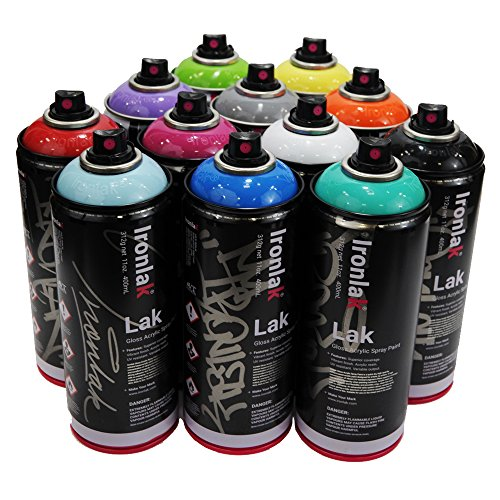 Ironlak 400ml Popular Colors Set of 12 Graffiti Street Art Mural Spray Paint (Ironlak Spray Paint compare prices)