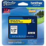Brother Tape, Retail Packaging, 1/2 Inch, Black on Yellow (TZe631) - Retail Packaging