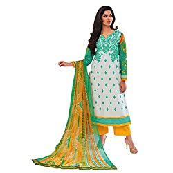 Paridhan Women'S White Cotton Embroidered Suit 14704B