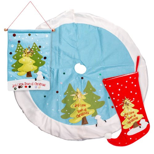 3-Pack Joy Came Down At Christmas Holiday Felt Tree Skirt, Banner, And Stocking
