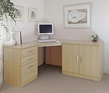 SET-13-IN-BE Beech Desk Cupboard Unit In Bedroom Table For Student Ideas Home Office Furniture UK Modular Computer Workstation Corner Desk Stand Printer Laptop With Hutch Only