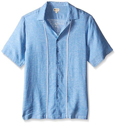 Haggar Men's Big-Tall Short Sleeve Linen Rayon Woven Shirt, Bel Air, 4X