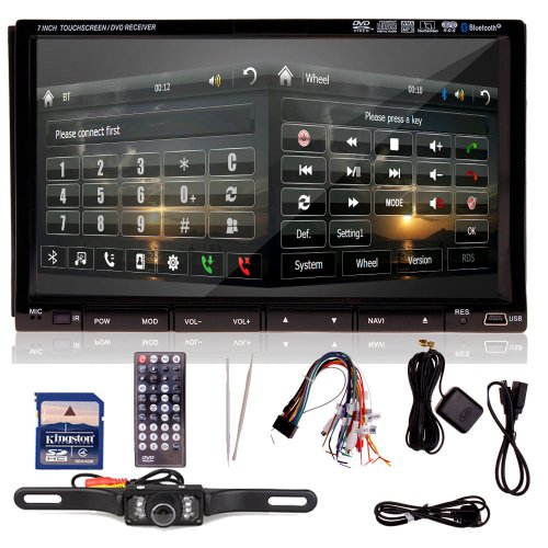"Ir2230 Gps+Map+Camera-Double Din In Dash 7"" Car Stereo Dvd Player Radio Bt Ipod"