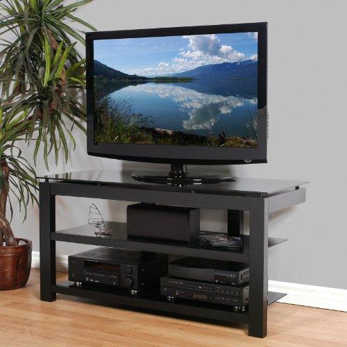 Cheap Plateau SL Series 50 Inch 3 Shelf TV Stand Black on Black (SL-3V (50) (B)-BG)