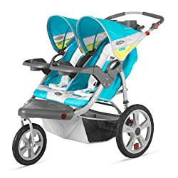 InStep Grand Safari Double Swivel Stroller Blue/Yellow