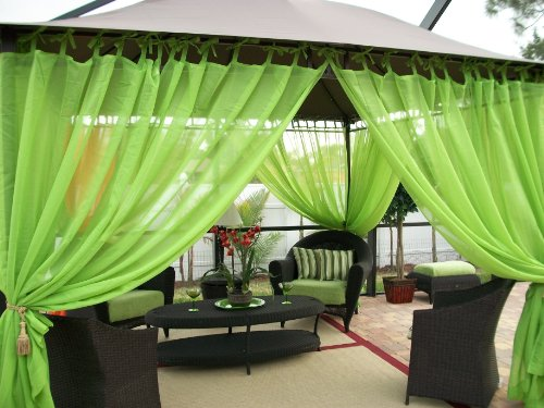 Outdoor Drapes Gazebo - Patio -Sheers - Tie Top - Key Lime - (2) Panels - (59