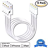 (4 Pack) Certified iPhone 5 & 6 Charging Cable. 8-pin Lightning Connector to USB for iPhone 6 & 6 Plus/5/5s/5c & iPads - Portable White Cord for Home or Travel - Fits iPad Mini, iPad Air, iPod Nano and iPod Touch & iPhone 5s - Genuine Authentication Chip Ensures the Highest Quality Charge with the Fastest Sync and Data Transfer for All IOS Devices - Extremely Durable (4x 1 Meter/3.3 Feet) - Lifetime Guarantee!