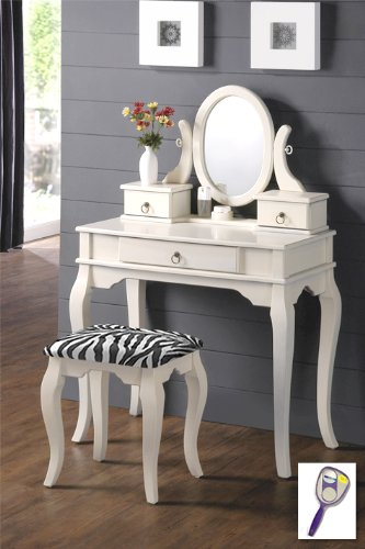 New White Finish Wooden Make Up Vanity Table with Mirror & Black & White Zebra Faux Fur Themed Bench