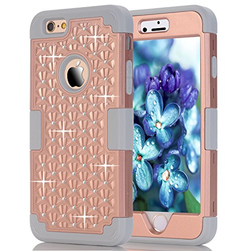 iPhone 6S Case,iPhone 6 Case,Anna Shop Studded Rhinestone 3in1 Shockproof Hybrid Full-body Protective Case Hard Cover PC+Silicone Full Body Protective High Impact Defender Cover For iPhone 6 6S (Gameboy Advanced Protection compare prices)