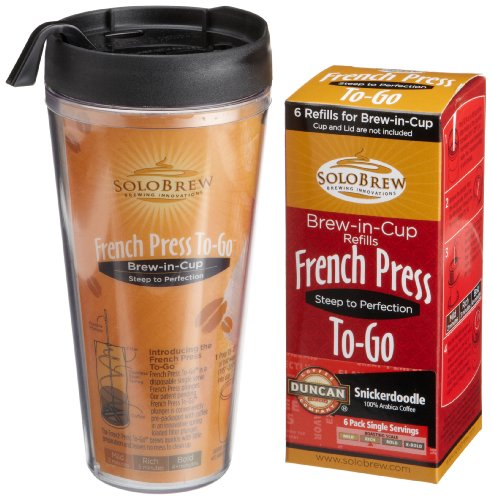 French Press To-Go, Duncan Coffee Company Snickerdoodle, Rich (6-Count Plungers & One Clear-Vu Tumbler), 1-Count Tumbler Set