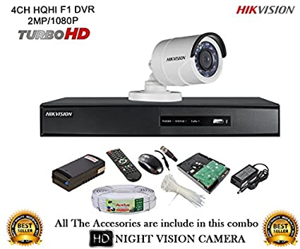 Hikvision-DS-7204HQHI-E1-4Ch-Dvr,-1(DS2CE16DOT-IR)-Bullet-Camera-(With-Mouse,-Remote,-1TB-HDD,-Cable,-Bnc&Dc-Connectors,Power-Supply)