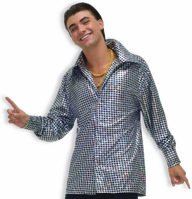 Mens Adult 60s 70s Halloween Party Flashy Disco Shirt