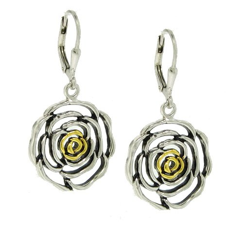 Sterling Silver 925 2 Tone Rose Earrings```Special 20% off ``` [Jewelry]