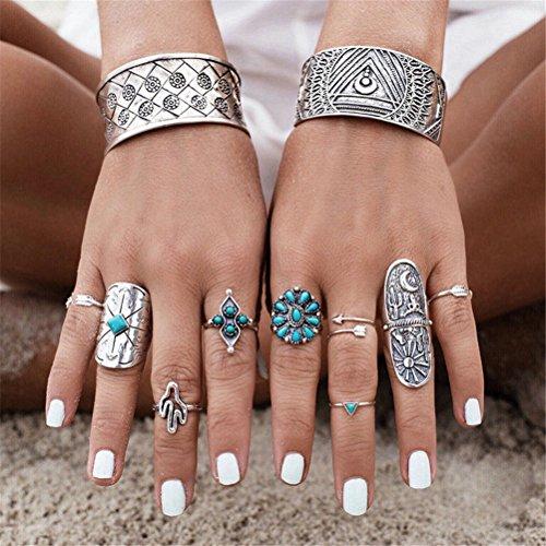 smilucky-1-set-9-pcs-women-punk-vintage-retro-boho-geometry-adjustable-finger-rings