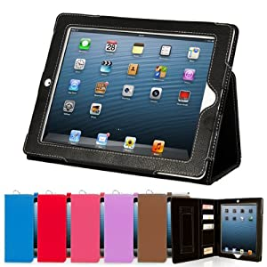 Snugg™ iPad 3 & 4 Case - Executive Smart Cover With Card Slots & Lifetime Guarantee (Black Leather) for Apple iPad 3 & 4