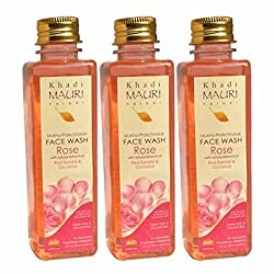 Khadi Mauri Rose Face Wash Pack of 3 Herbal Natural Ayurvedic 250 ml each