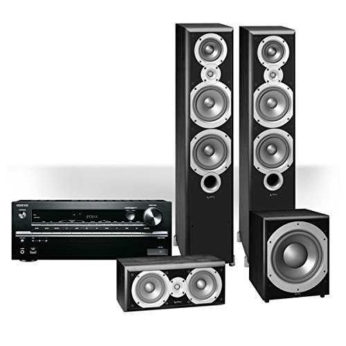 """Onkyo TX-NR646 7.2-Channel Network AV Receiver with Infinity Primus P363 3.1-Channel Home Theater Package with 12"""" Subwoofer (Black)"""