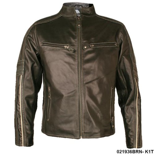 Mens Classic Brown Real Leather Biker Jacket K1T Size Small