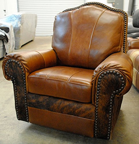 Small Custom Leather & Cowhide Recliner