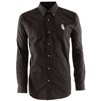 MLB Men's Chicago White Sox Esteem Long Sleeve Woven Shirt (Black/Grey/White, Medium)