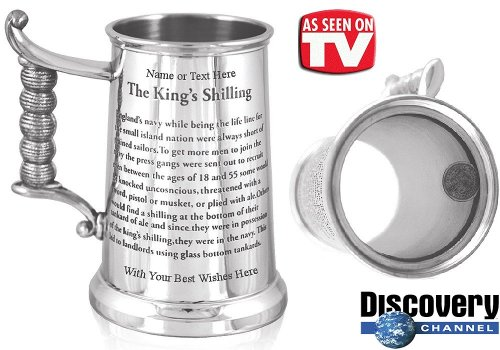 Personalised Engraved Tankard - 'The Kings Shilling' Finished in High Quality Pewter (As seen on TV!) - Full Pint - A Lovely Gift for Fathers Day, Birthday, Retirement & many more! Free Engraving