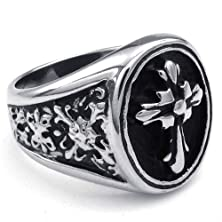 buy Fashion 316L Stainless Steel Silver Tone Cross Men'S Ring -- Aooaz Jewelry