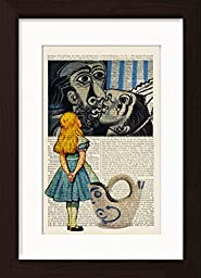 Alice In Wonderland Meets Pablo Picasso\'s The Kiss Mounted / Matted Dictionary Art Ready To Frame Print