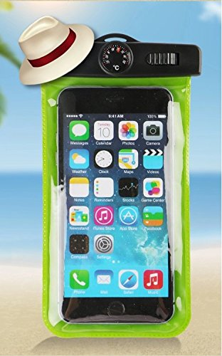 Waterproof Case, Allmet [Green] Universal DryWaterproof Pouch Bag Case Comes With [Water Thermometer] for Apple iPhone 6, 5S 5C 5 4S, iPod Touch 5 4 3 Samsung Galaxy S5, S4, S3, Samsung Galaxy Note 4, 3, 2, 1, HTC One M8,M7,M4, LG Optimus G2, G3,G4, Nexus 5, 4, Sony Xperia Z1, Z2,Z3 Nokia Lumia 520, 635, 930, BlackBerry Z10, Z3, Motorola Droid DNA - Also Fits Any Smartphones Up To 6.0 (Waterproof Cas For Ipod 5 compare prices)