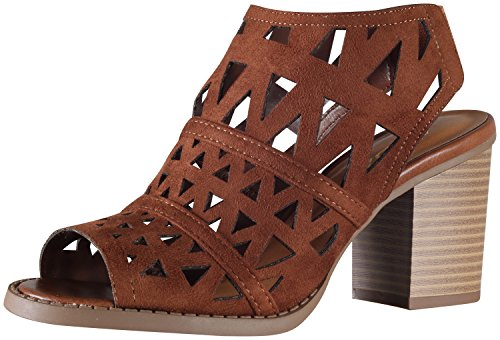 Soda Women's Fashion Laser Cut Slingback Sandal Bootie (7.5 B(M) US, Cognac) (Soda Shoes Women Wedges compare prices)