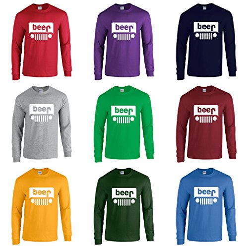 Men's Beer Jeep Funny Logo Parody Long Sleeve T-Shirt