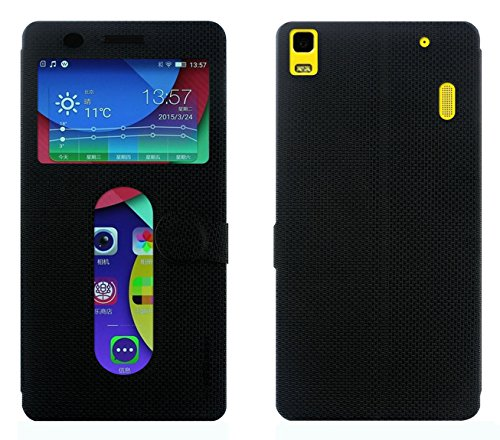 Lenovo K3 Note Flip Cover / A7000 Flip Cover With Notification Window - Cool Mango iMaterial Window Flip Cover / Case for Lenovo K3 Note / A 7000 - Royal Black