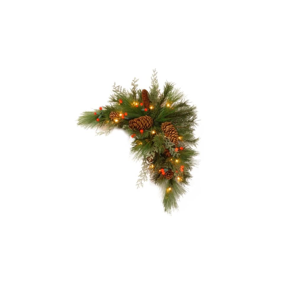 National Tree DC13 116 30CB 1 Decorative Collection White Pine Corner Swag with 63 Soft white and Red LED Battery Operated Lights, 30 Inch