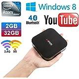 Vensmile W8 Wintel Compute Stick Mini PC with Intel Atom BayTrail CR,Z3735F Quad Core Pocket Smart Computer HDMI TV Stick Windows 8.1 With Bing OS with Memory DDR3 2GB EMMC 32GB Bluetooth 4.0 Ethernet Micro SD Card