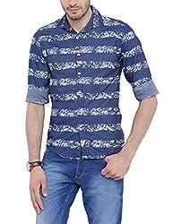 Bandit Blue Cream Print Slim fit Denim Printed Shirts