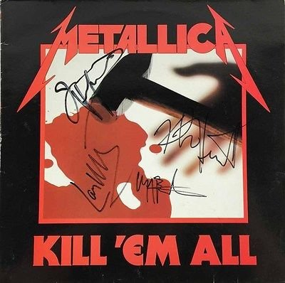 "Metallica Band Signed ""kill 'em All"" Vinyl Album W/ Burton +3 Psa/dna W03775"