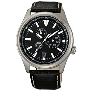 Orient ET0N002B Men's Defender Automatic Black Dial Leather Strap Watch