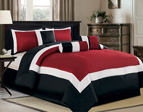 "7 Piece Oversize Burgundy / Black / White Color Block ""Milan"" Comforter set 94"" X 90"" Queen Size Bedding"