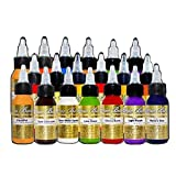 Mario Barth's Tattoo Ink Supplies Gold Label Kit 19 Unique Colors Professional Quality, 1 Ounce Bottles, Set of 19 (Color: multi)