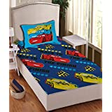 Disney- Athom Trendz- Cars Cotton Single Bed Sheet Set- Blue