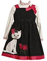 Bonnie Baby-Girls Newborn Dot With Cat Applique Corduroy Jumper, Black/White, 3-6 Months
