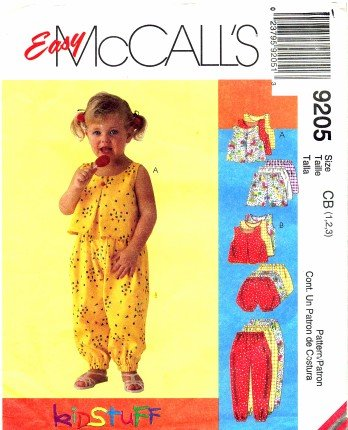 Mccall'S 9205 Sewing Pattern Toddler Girls Top Pants Shorts Bloomers Size 1 - 3 front-1056942