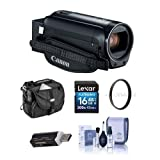 Canon VIXIA HF R800 3.28MP Full HD Camcorder, Black - Bundle with 43mm UV Filter, Video Bag, 16GB SDHC Card, Cleaning Kit, Card Reader (Color: Black)