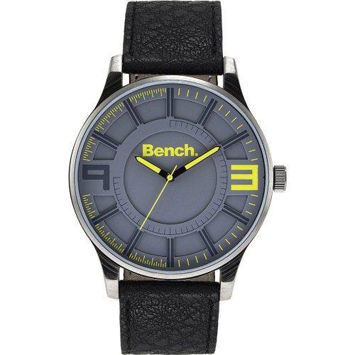 Bench Men's Quartz Strap Watch with Grey Dial Analogue Display and Black Plastic or Pu Band Bc0401Ylbk