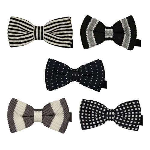 Toptie Men'S Tuxedo Pre-Tied Knitted Bow Ties Wholesale 5Pc Mixed Lot Set10