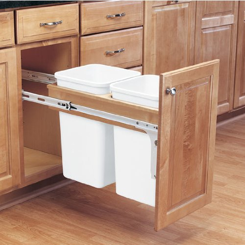Rev-A-Shelf Double Trash Pullout 35 Quart -Wood, Less Bins (4WCTM-18DM2)