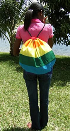 Gay pride rainbow pride drawstring backpack (handmade in the USA)