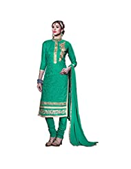 Green Cotton Embroidered Salwar Suit With Hand Work