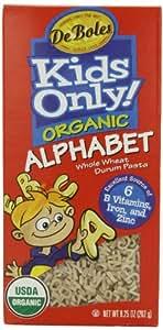 DeBoles Kids Only! Organic Alphabet Pasta, 9.25-Ounce Boxes (Pack of 12)