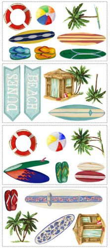 Surfboard Wall Decor Surfing Appliques Summer Kids Wallpaper Beach