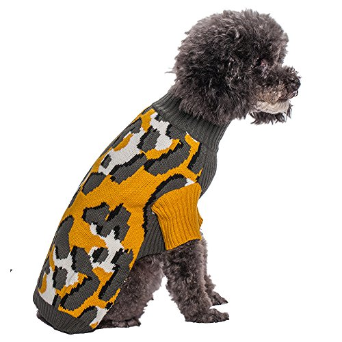 """Blueberry Pet 10"""" Back Length Bold & Trendy Leopard Print Dog Sweater In Goldenrod Small front-268833"""